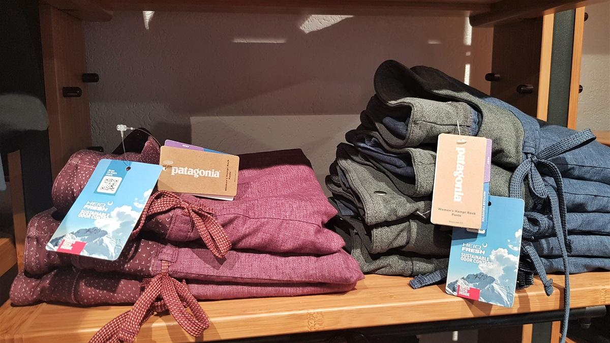 Clothing made with HeiQ's Fresh odor control technology in a Patagonia store. Image credit: HeiQ